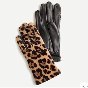 J Crew Italian Calf Hair Leather Gloves, NWT